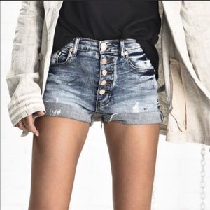 ONE TEASPOON Blue Harlets Distressed Denim Shorts